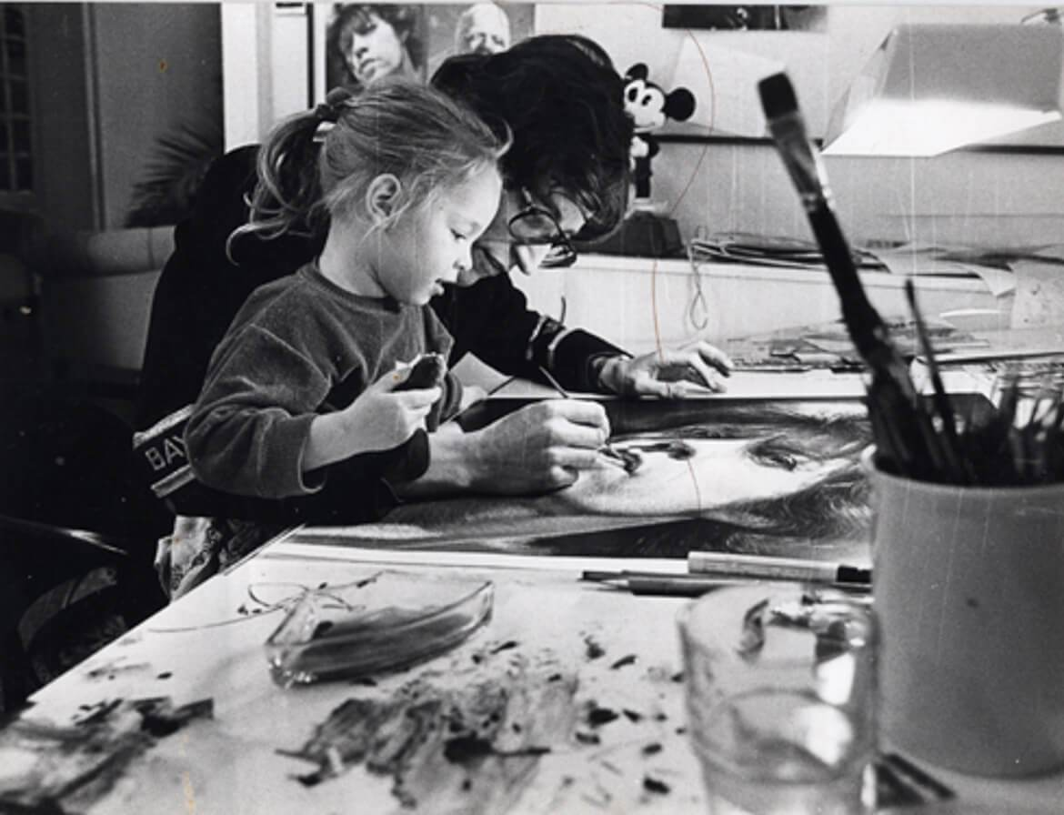 Gottfried Helnwein and daughter