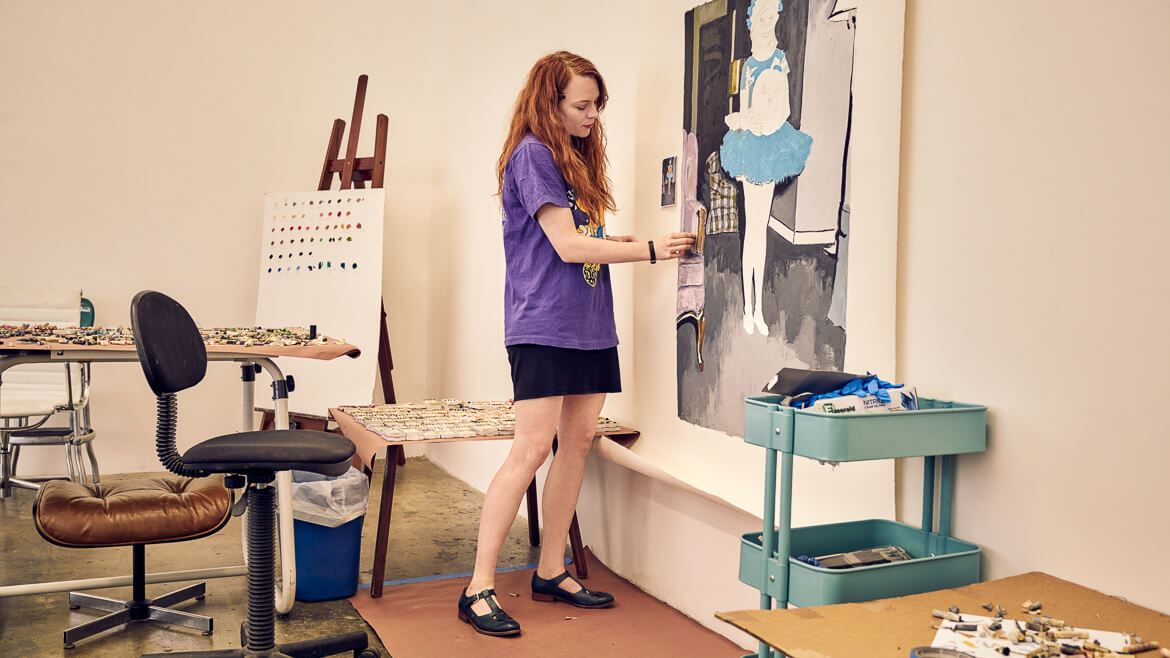Mercedes Helnwein in her studio in L.A., Painter, artist