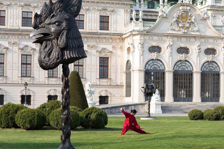 Yonghui Deistler beim Taijiquan  beim Kunsthistorischen Museum in Wien